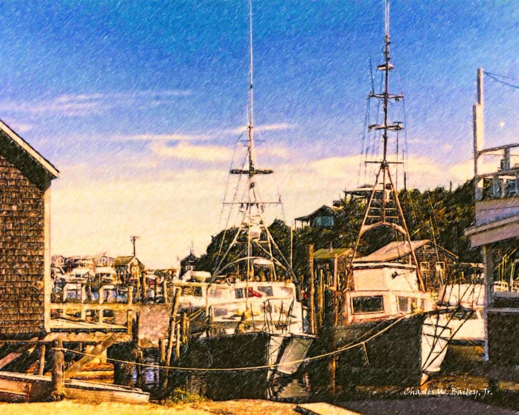 Digital Color Pencil Drawing of Docked Boats on Martha's Vineyard - MVY Radio